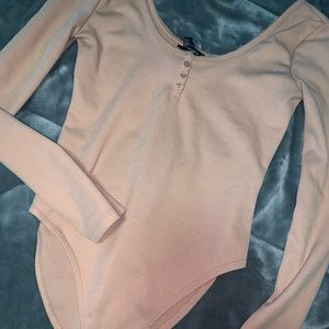 Forever21 blush pink long sleeved bodysuit